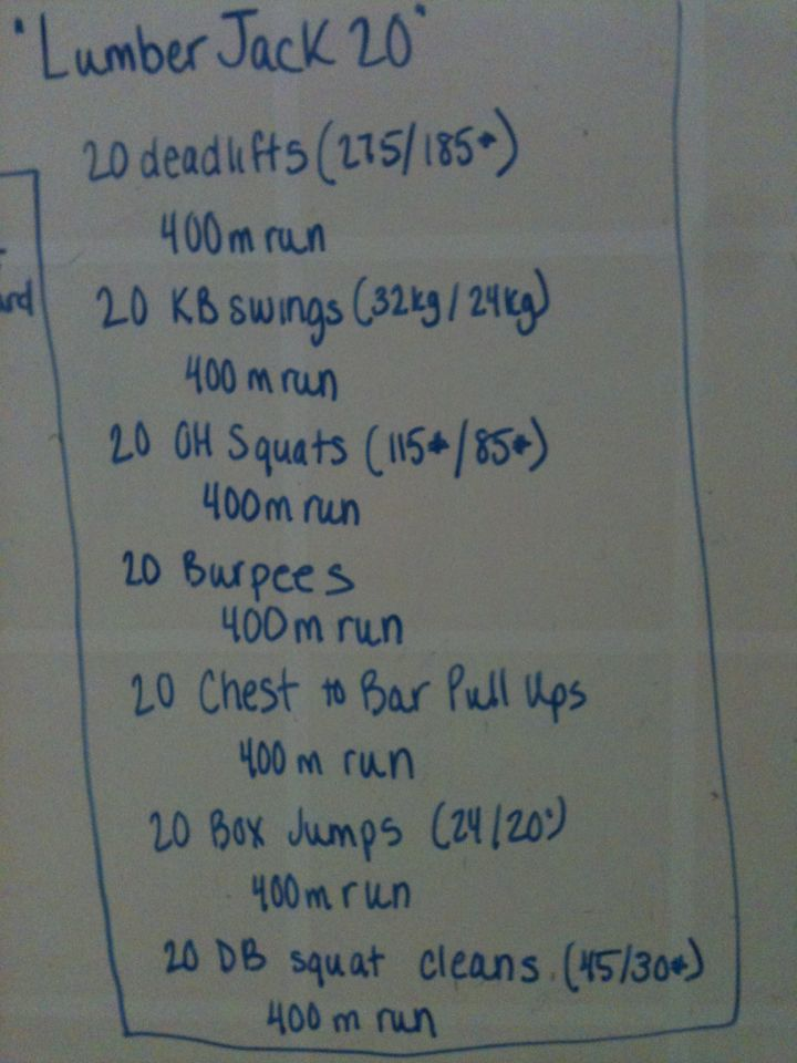"""WOD 155# deadlifts (broken into about 3 groups)  16kg kettlebell swings  65# OHS (broken into about 5 groups)  burpees  black band pull-ups  20"""" box jumps  20# dumbbell squat cleans (broken into 4 groups)  43:43"""