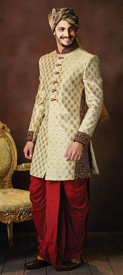 502854 Beige and Brown color family Dhoti Sherwani in Brocade fabric with Stone, Thread, Zardozi work .