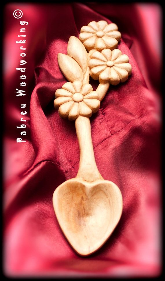 Would make a beautiful wedding gift!! Love Spoon  Carved by hand following the by PabreuWoodworking