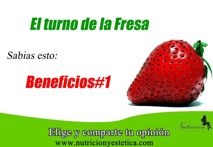 FRESA. conoce sus beneficios. #1. Aquí:    http://nutricionylaestetica.blogspot.com/2012/10/nutricionistalima.html      Las nutricionistas de Nutricion Estetica en esta oportunidad quieren compartir los beneficios de la fresa una fruta que puede ser una muy buena opcion en su dieta.