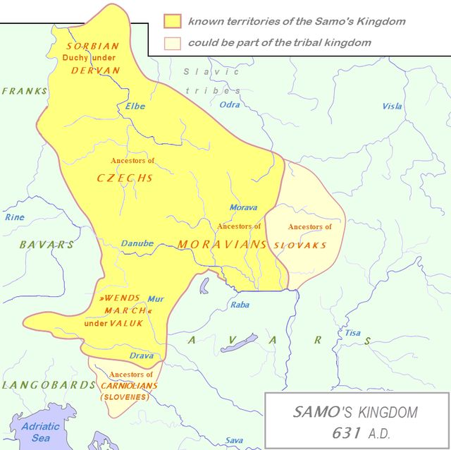 Mapa - Samo's Empire was a tribal union of Slavs existing in Central Europe in the years 624-659