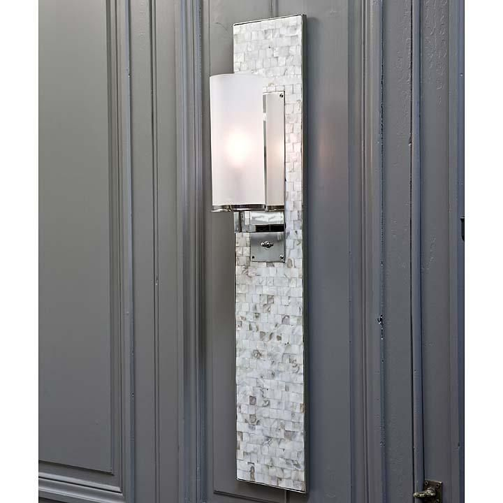 Regina andrew design mother of pearl panel sconce for Bathroom decor regina