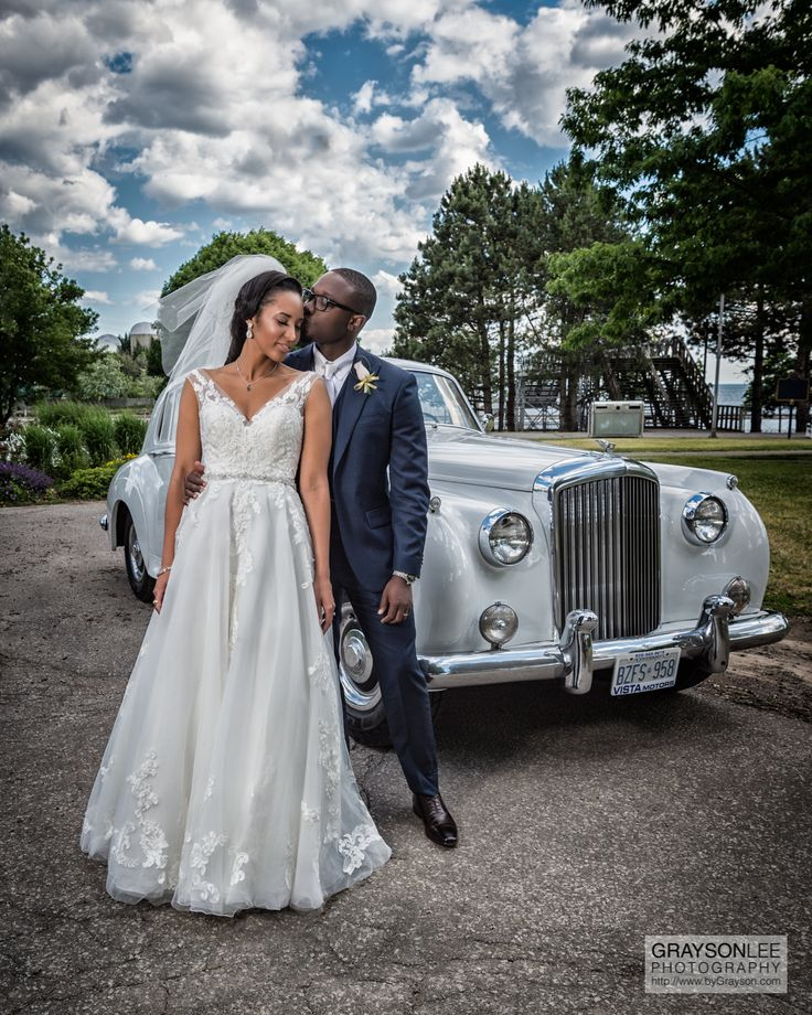 Murielle and Kesi.  A beautiful couple and a vintage Rolls Royce limo.  Both classy an classic!