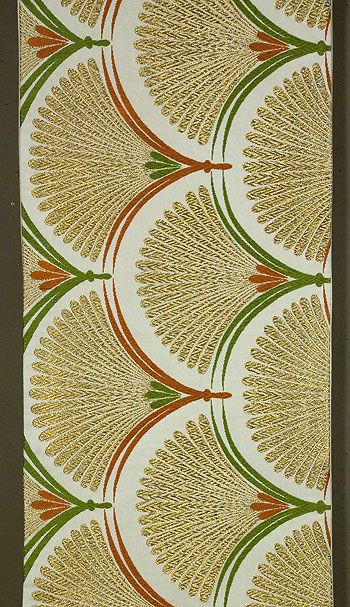 """Japanese Fukuro Obi Mid 1980s 11½""""x 156"""" Decorated section: 11½""""x 101."""" Gold and silk brocading on ivory silk satin. Tangerine and yellow-green silk."""