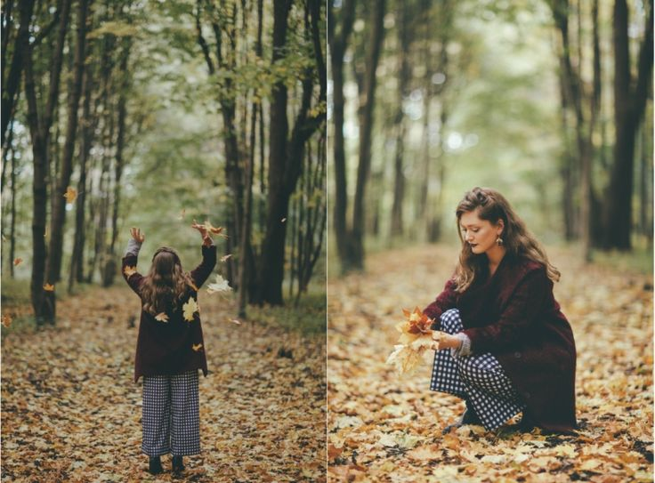 Feel cozy.Autumn, girl, inspiration, plaid, beauty, wood, forest, leaves