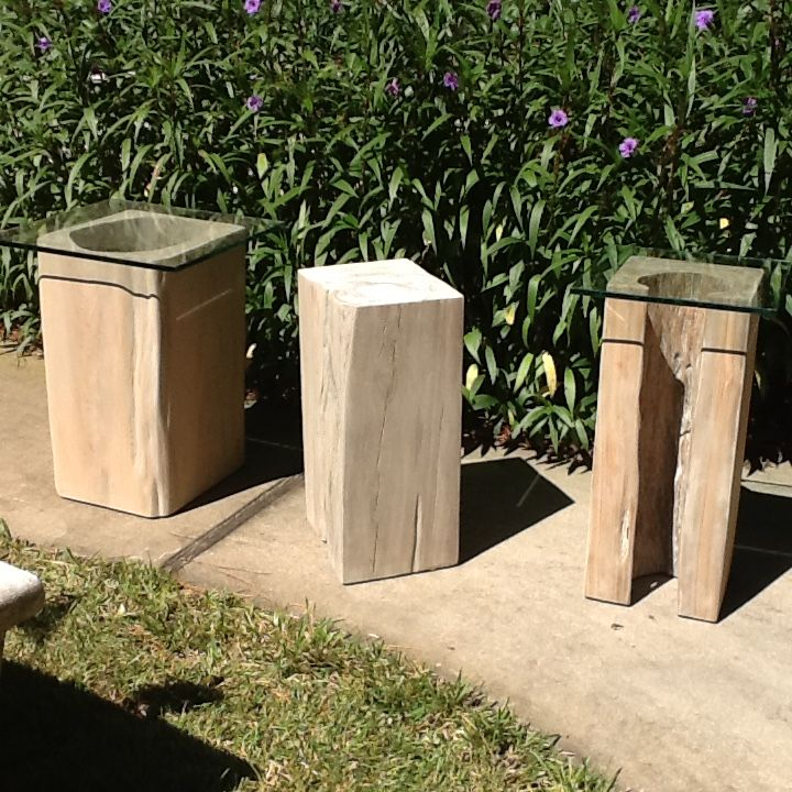 Reclaimed Cypress Side Tables In Grey Tone. By Natural Creations And John  Gabrielson.