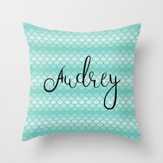 Personalized Mermaid Pillow Cover 18x18, Throw Pillow Covers 16x16, Girls Room Decor, Mermaid Nursery Decor, Custom Pillow Cover 20 x 20