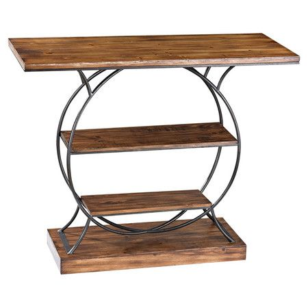 Display a vase of lush blooms or exotic candle arrangement on this industrial-inspired console table, showcasing 2 bottom display shelves and a round metal f...