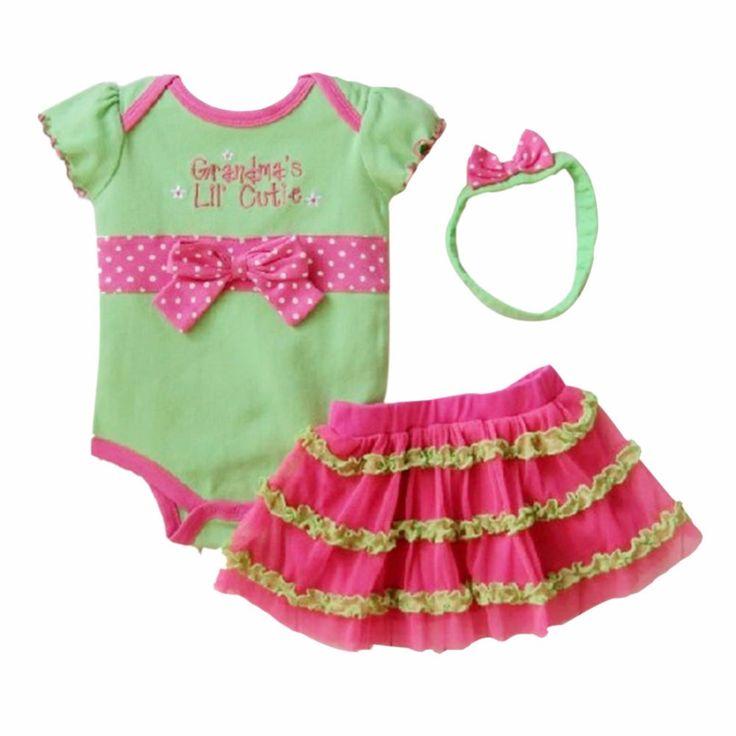 3pcs Infant Baby Girl Polka Dot Headband+Romper+TUTU Skirts Bowknot Outfit S03