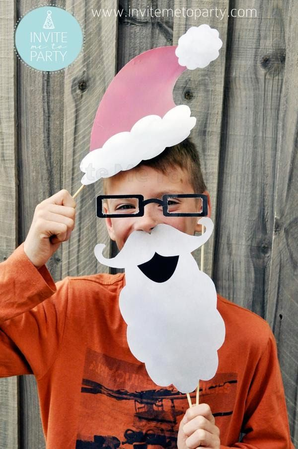 Santa Hat and Beard Photo Prop Invite Me To Party: Christmas Photo Booth Props