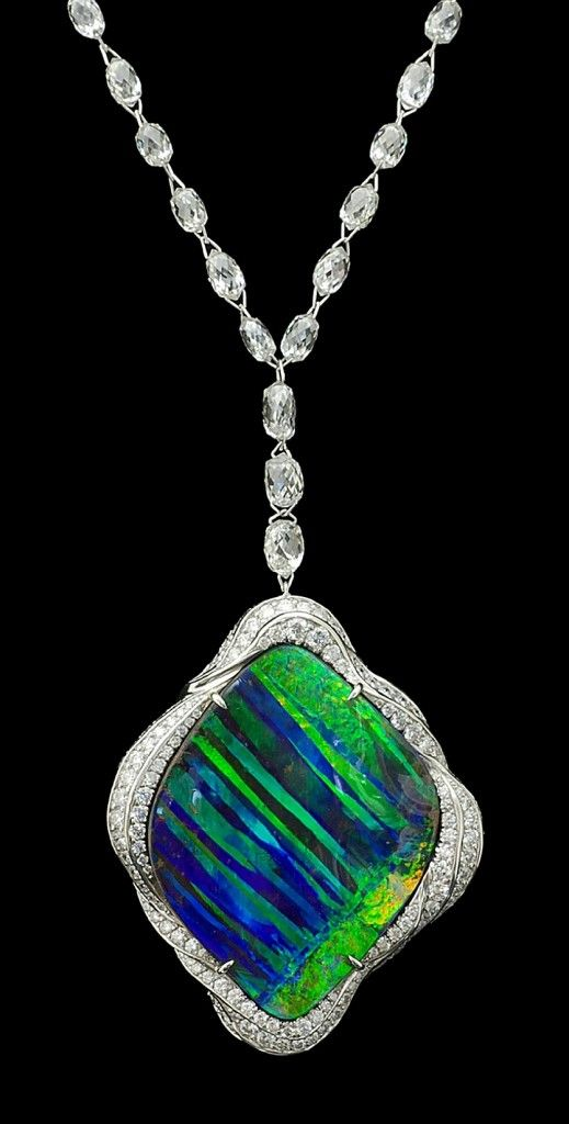 Opal pendant (34.80 carats), with platinum and diamonds.  Design by James Currens.  jewellery, jewelry