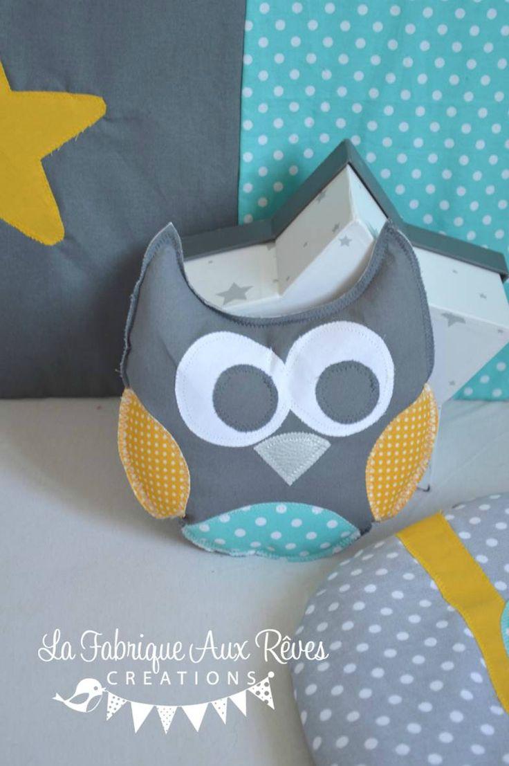 coussin hibou 3 teintes turquoise gris foncé gris clair jaune moutarde