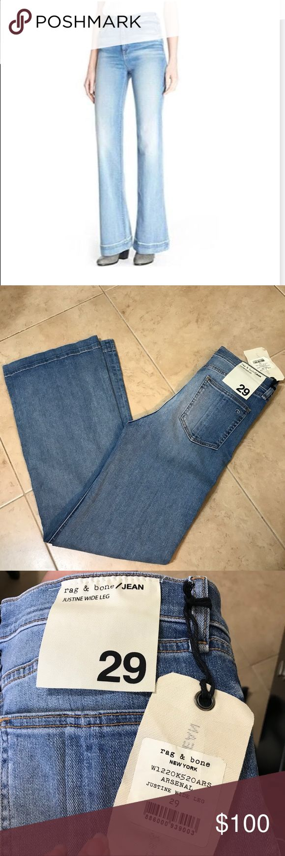 Rag and Bone Justine Wide Leg Jeans NWT Sz 29 Rag and Bone Jeans Size 29, New With Tags, Umworn, Wide Leg and High Waist, In Faded our Color Arsenal. See Pic and website for size chart for Justine Jeans currently only offered in a dark was for $250 rag & bone Jeans Flare & Wide Leg