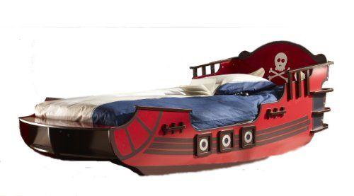Kinderbett PIRATENSCHIFF rot Seeräuber Piratenbett Boot Bett