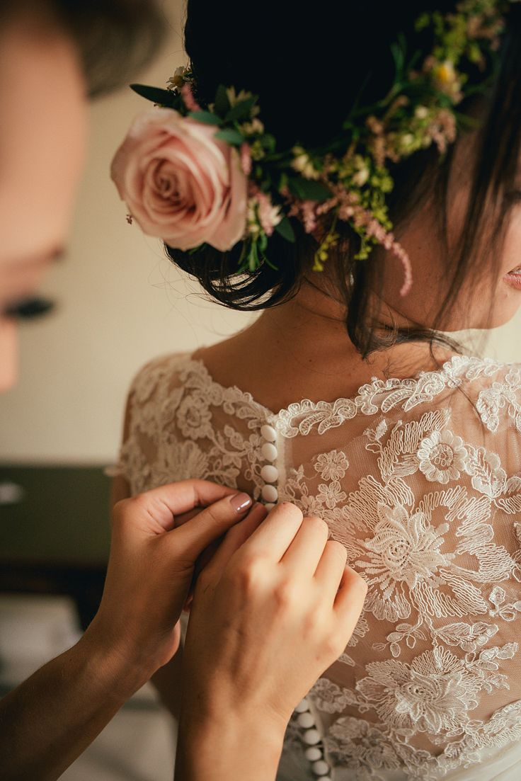 Delicate Rose Flower Crown   Autumn Wedding   Justin Alexander bridal gown   Lyde Court   Coral Rose Bouquet   Naked Wedding Cake   Images by Lucy Greenhill Photography   http://www.rockmywedding.co.uk/gemma-alfie/