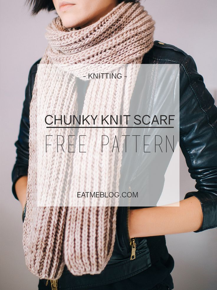 Fisherman's Rib Chunky Scarf. Check this free pattern now or save for later.
