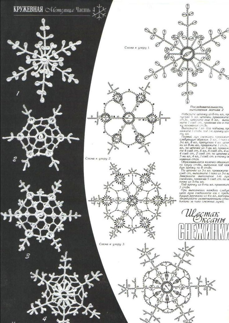 Delicate Crochet Snowflakes with accompanying pattern charts. Most of the patterns consist of chain !