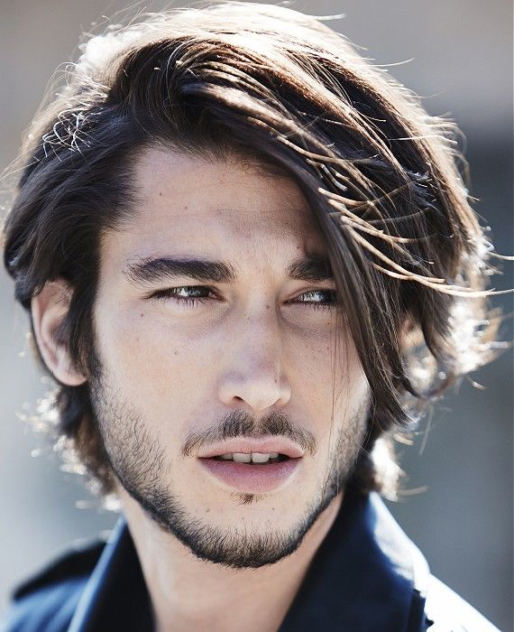 Medium Brown Side-Parting Straight Hairstyle Haircut For Men