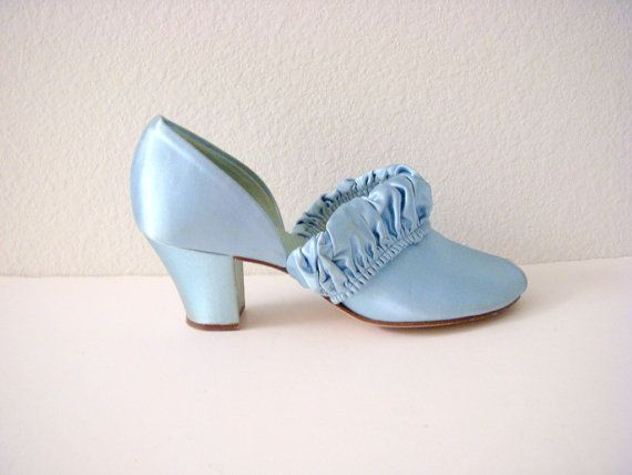 Blue Satin 1940s Boudoir Slippers by Daniel by OmAgainVintage, $65.00