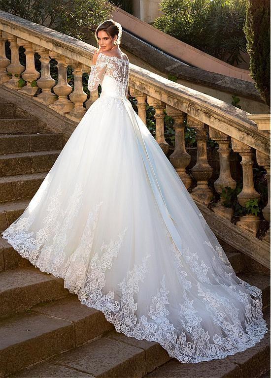 Kaufen Sie Rabatt Fantastische Tüll off-the-Schulter-Ballkleid Brautkleid