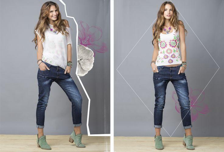 vuelve la moda de camisas sobrepuestas y las combinaciones de estampados con telas de chifon. jean boyfriend