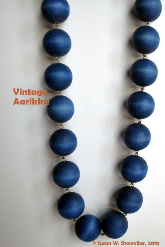 1960s  Vintage Aarikka Blue Wood Bead Necklace by PeaceDoveJewelry