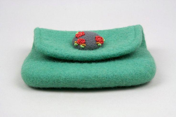 3Roses borsa di lana infeltrita menta con ricamato e di Onstail