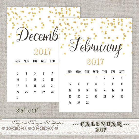 Printable Calendar 2017Gold Confetti by DigitalDesignPaper on Etsy