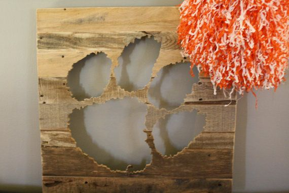 Clemson Tiger Paw made of reclaimed wood 24 x by barndoorstudios, $110.00