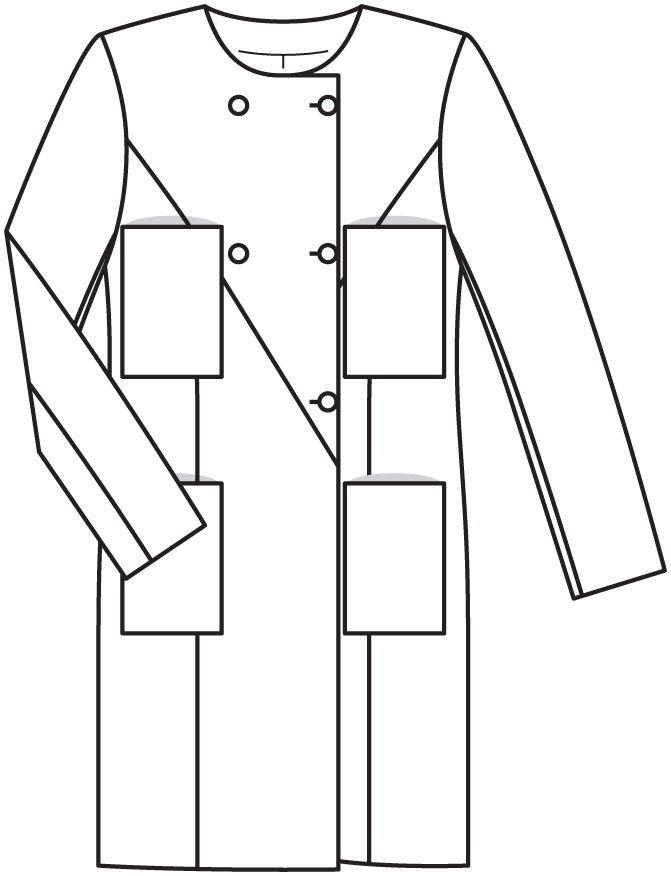 Пальто с накладными карманами - выкройка № 120 из журнала 2/2015 Burda – выкройки пальто на Burdastyle.ru
