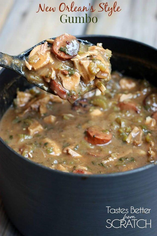New Orleans' Style Gumbo | 23 Festive Fat Tuesday Ideas | Mardi Gras Party - Fun DIY Crafts, Costumes, Party Decorations, Food Recipes And More! by Pioneer Settler at http://pioneersettler.com/fat-tuesday-party/