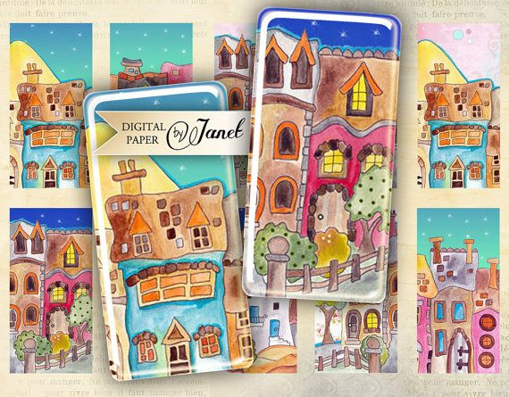 Sweet Village - domino image - digital collage sheet - 1 x 2 inch - Printable Download