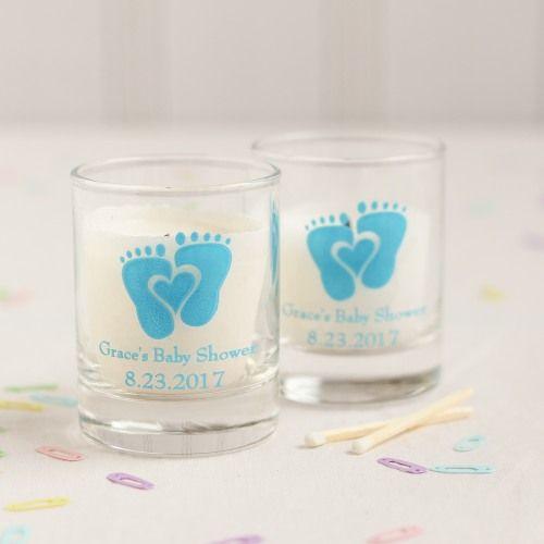 Personalized Baby Feet Glass Votive Holder