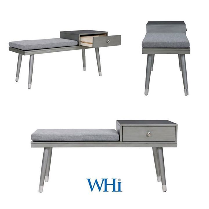 How we love new home accents! Like this Elba bench with drawer from WHi. Made of eucalyptus wood with a grey finish, the Elba includes antique gold hardware on legs that makes it stand out...  http://worldwidehomefurnishingsinc.com/elba-bench-w-drawer-in-grey.html