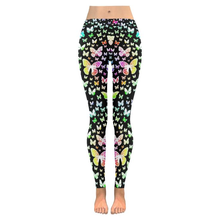 Rainbow Butterflies Low Rise Leggings (Invisible Stitch) (Model L05)