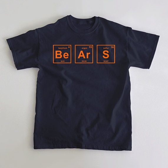 A shirt for Chicago Bears fans that love football and a little bit of science. A chemistry inspired representation of the greatest franchise in