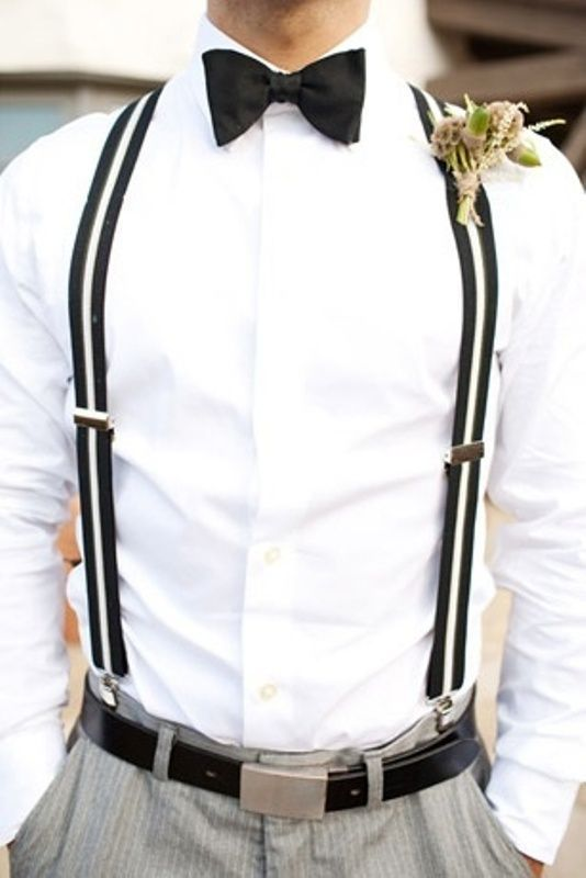 Black tie suspenders men Perfect for prom, formals, and weddings. Men's fashion and style  | @iswmenswear iswmenswear.com #menswear #mens #suits