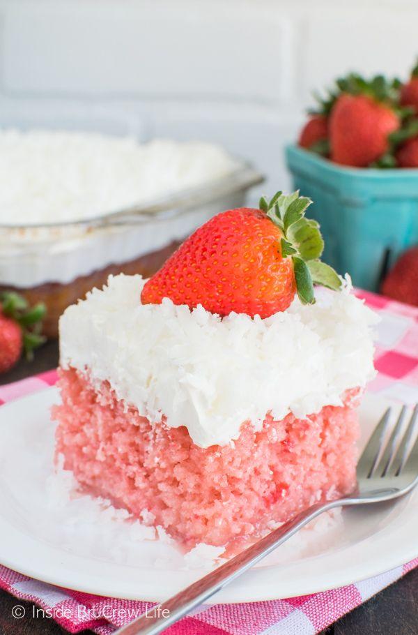 Strawberry Coconut Poke Cake FoodBlogs.com