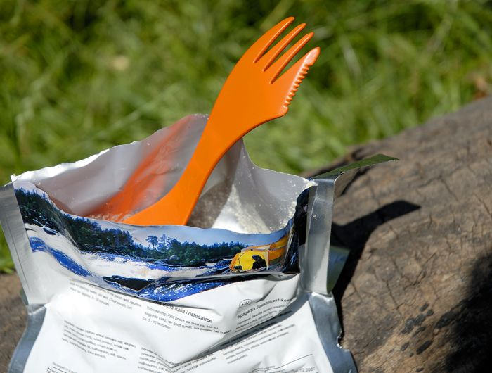 Light My Fire - Spork extra-medium.   No more sticky knuckles Our spoon-fork-knife combo brings a bit of civilization to the wild and a bit of the wild to civilization. Designed especially for Light My Fire by Scandinavian designer Joachim Nordwall. The Spork is perfect for your backpack, boat, picnic basket, lunchbox, purse or briefcase.