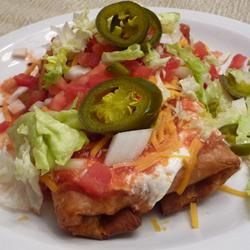 Shredded Beef Chimichangas - NOT deep-fat fried, and beef is cooked in crockpot!