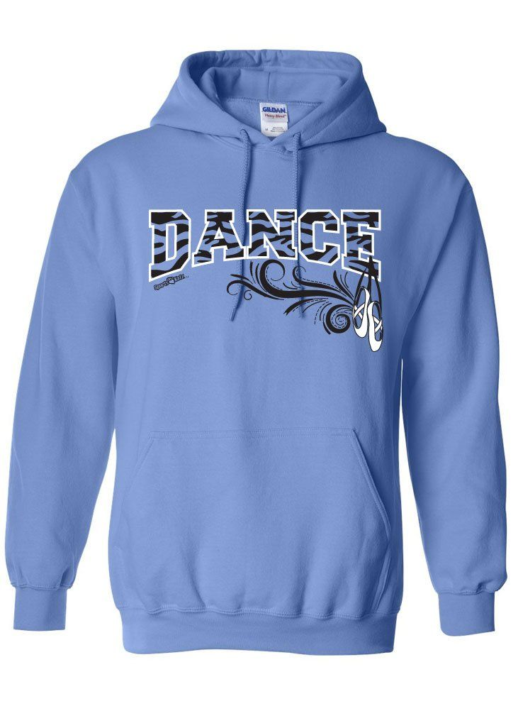 Sports Katz Womens 'Zebra' DANCE Hoodie Columbia Blue Medium. 7.75-ounce, 50/50 cotton/poly; no-pill Air Jet Yarn, Double-needle stitching. Double-lined hood with dyed-to-match drawcord, Set-in sleeves. 1x1 athletic rib knit cuffs and waistband with spandex, Front pouch pocket. Sized Adult S-XL. Please use adult size chart. Sports Katz design exclusive!!.