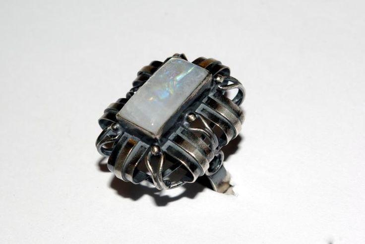 KAMIEŃ KSIĘŻYCOWY - piękny pierścionek lata 80-te (4897073016) srebro 925