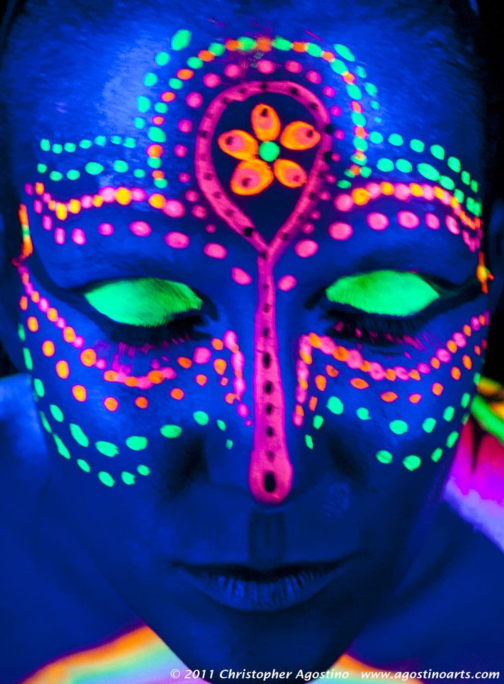 Neon Face Paint Flowers And Dots