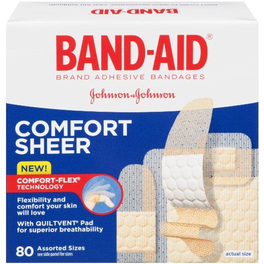 Band-Aid Brand Adhesive Bandages, Comfort Sheer, Assorted, 80 Count