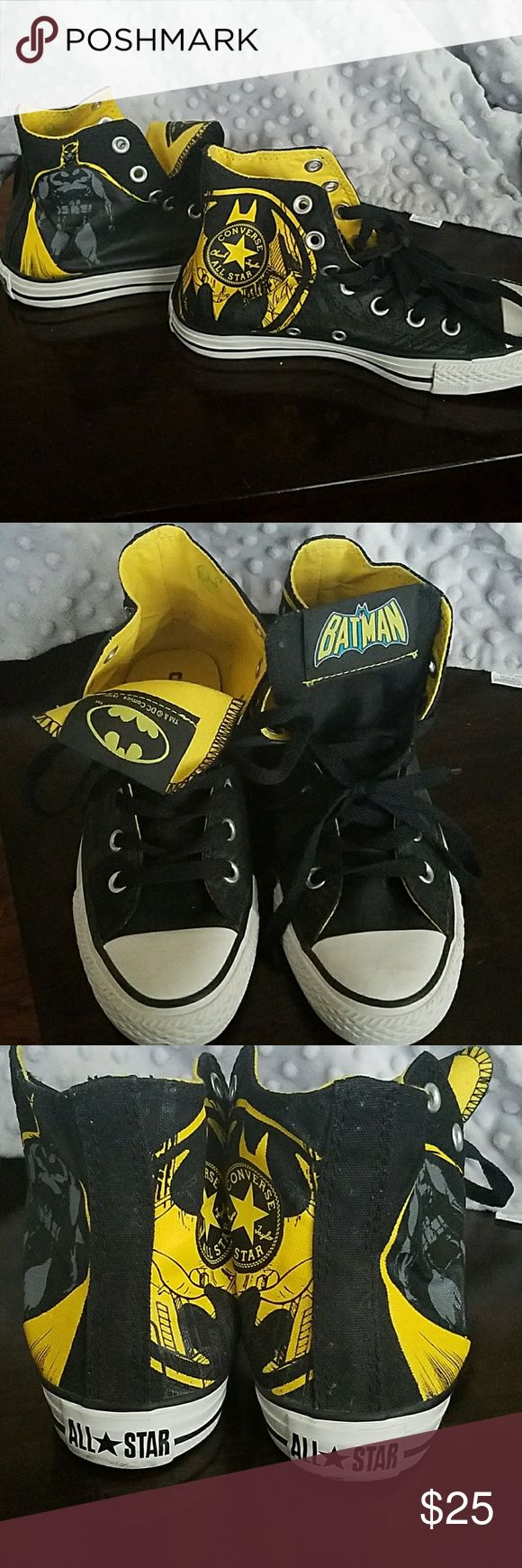 Batman Converse All Star High Tops Batman size 4 in boys/ 6 in women's, worn a few times, like new Converse Shoes Sneakers