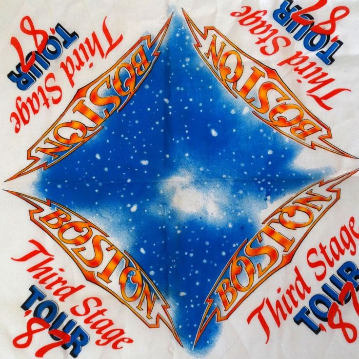 """Vintage 1987 BOSTON THIRD STAGE TOUR Rock Band Concert AUTHENTIC Banner/Scarf 21"""" x 21.5"""" Cotton ~ Hang or Frame or Wear + More! Click on Picture to Purchase from FavoriteStuff4u on eBay! DON'T MISS OUT!"""