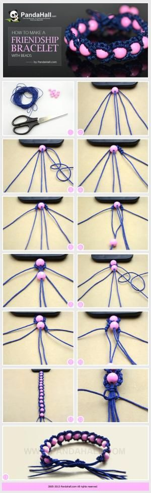 Ideas on how to make a friendship bracelet with beads; as same as the trendy Shamballa bracelet, you can make these fabulous friendship bracelet more distinctive simply by adding some beads in. by darlene g