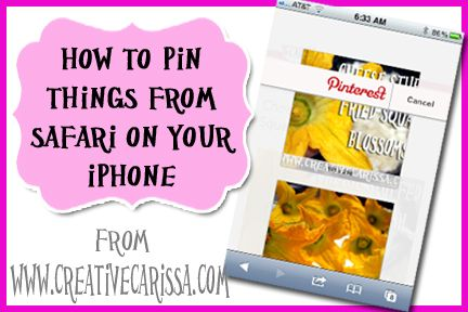 How to Pin Things to Pinterest from Your iPhone ~ Carissa's Creativity Space: Iphone Ipad, About Iphone, Iphone Pictures Tutorials, Creative Green, Iphone Pads, Pinterest Ahol, Iphone Technology, Pin Things, Green Living