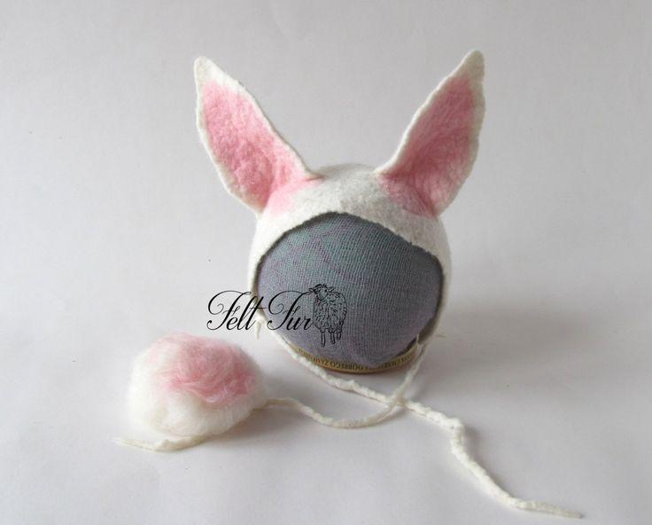Felted  Newborn Hat Photoprops hat Baby Hat Infant Hat Baby ears bunny Newborn Girl Hat Boy hat  Felt Hat Newborn,  Infant  Beanie,…