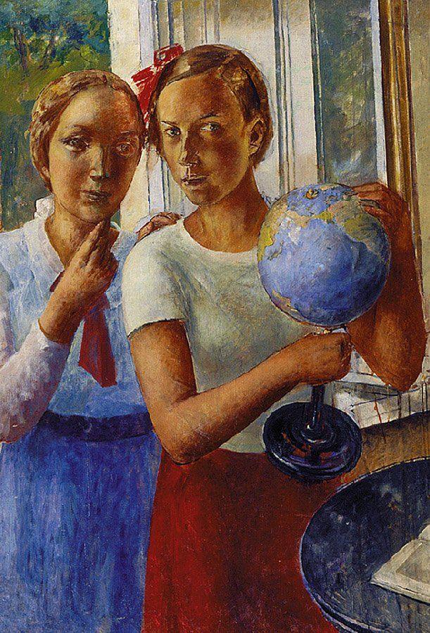 Петров-Водкин. Портрет дочери с глобусом. 1936